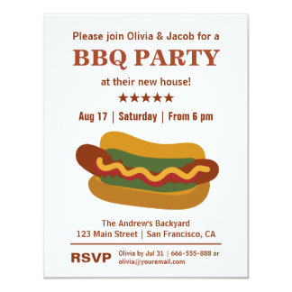 Vintage BBQ Hot Dog Housewarming Party Invitations