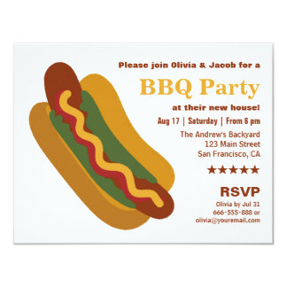 Vintage BBQ Hot Dog Sausage Housewarming Party Card