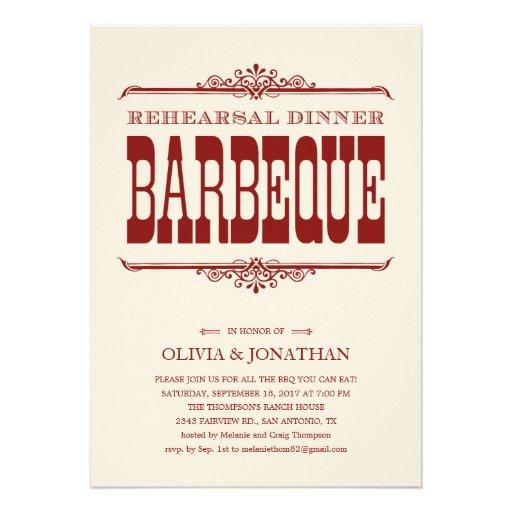Vintage BBQ Rehearsal Dinner Invitations