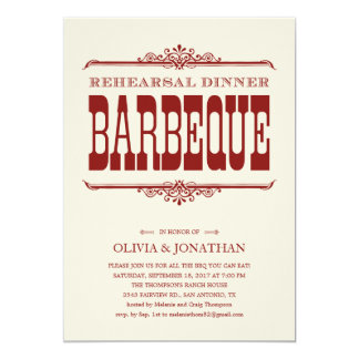 "Vintage BBQ Rehearsal Dinner Invitations 5"" X 7"" Invitation Card"