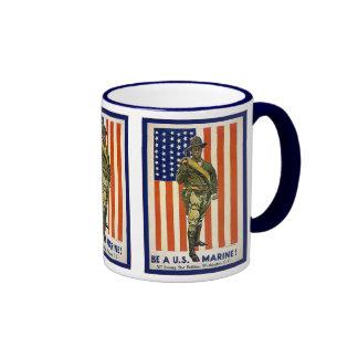 Vintage Be a U.S. Marine! Ringer Coffee Mug