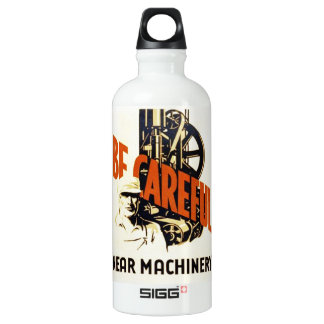 Vintage Be Careful Near Machinery WPA Poster Aluminum Water Bottle
