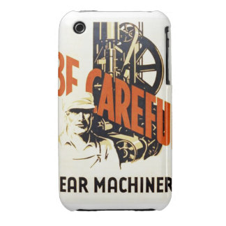 Vintage Be Careful Near Machinery WPA Poster iPhone 3 Cover