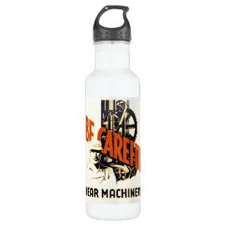 Vintage Be Careful Near Machinery WPA Poster Water Bottle