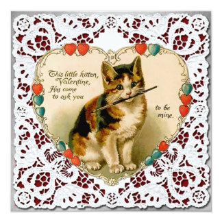 """Vintage """"Be Mine"""" Kitten Heart Valentine Card"""