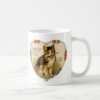 "Vintage ""Be Mine"" Kitten Heart Valentine - Mug 1"