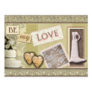 Vintage be my love post card