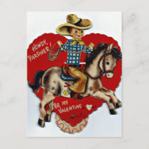 Vintage Be My Valentine Cowboy Holiday Postcard