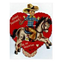 Vintage Be My Valentine Cowboy Postcard