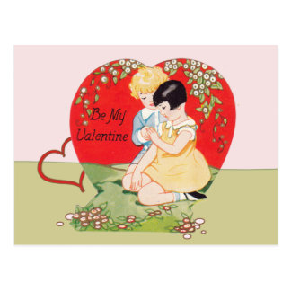 Vintage be my Valentine Postcard