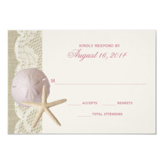 Vintage Beach and Lace Ivory RSVP Card