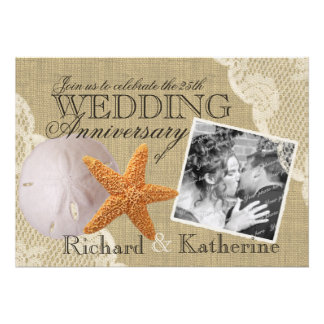 Vintage Beach and Lace Wedding Anniversary Personalized Invitation