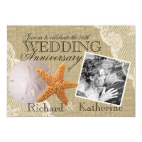 Vintage Beach and Lace Wedding Anniversary Invitation