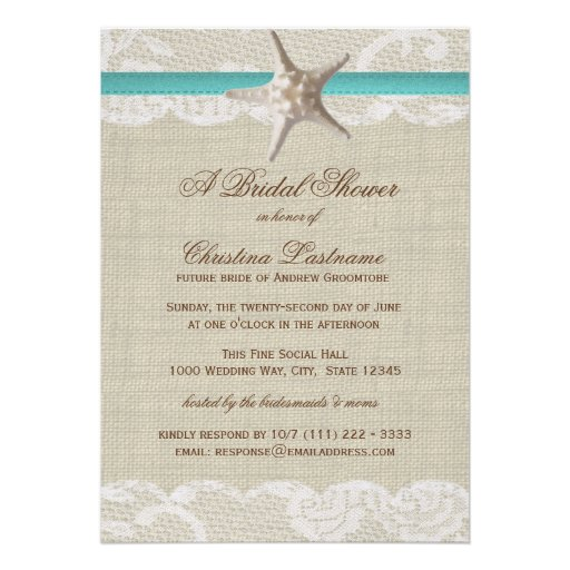 Vintage Beach And Starfish Bridal Shower Personalized Invitation