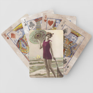 Vintage Beach Babe with Umbrella Playing Cards