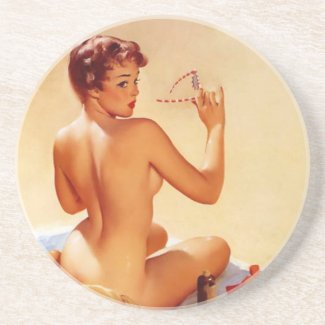 Vintage Beach Beauty Pin Up Girl Drink Coaster
