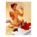 Vintage Beach Beauty Pin Up Girl Postcard