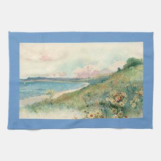 Vintage Beach Blue Kitchen Towel