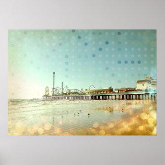 Vintage Beach Boardwalk, Archival Print