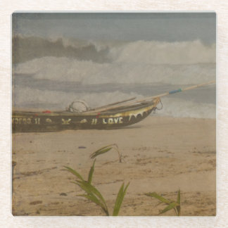 Vintage Beach Boat Photo Glass Coaster