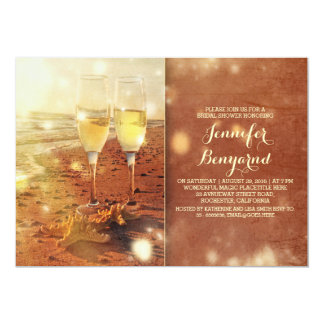 vintage beach bridal shower invitation