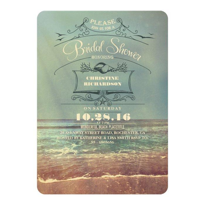Vintage beach bridal shower invitations zazzle for Classic bridal shower invitations