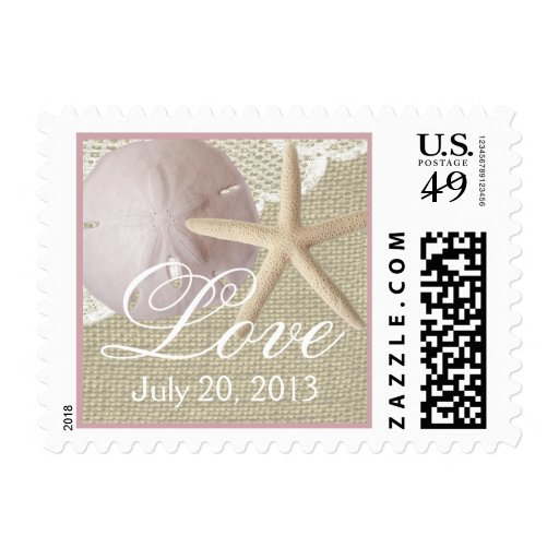 Vintage Beach Burlap and Lace Postage Stamp