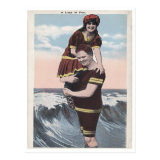 Vintage beach couple postcard