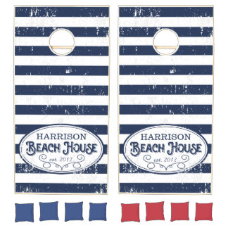 Vintage Beach House Personalized Navy and White Cornhole Set