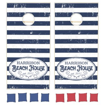 RedwoodAndVine Vintage Beach House Personalized Navy and White Cornhole Set