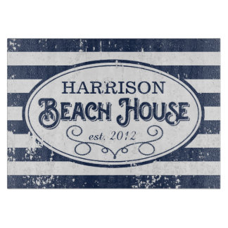 Vintage Beach House Personalized Navy and White Cutting Board