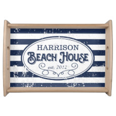 Vintage Beach House Personalized Navy and White Serving Tray