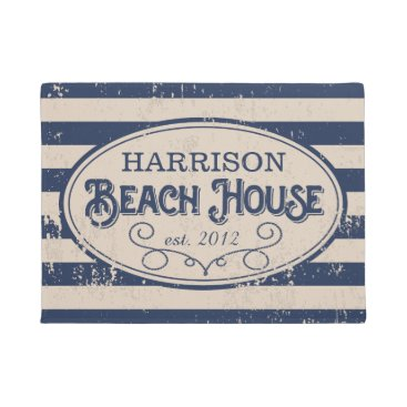 RedwoodAndVine Vintage Beach House Personalized Navy Blue Doormat
