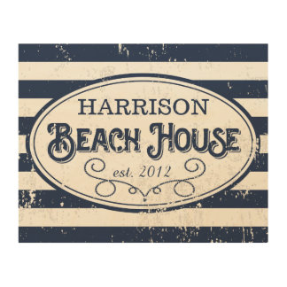 Vintage Beach House Personalized Navy Blue Stripe Wood Wall Art