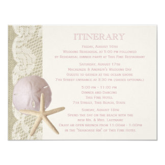 Vintage Beach Itinerary 4.25x5.5 Paper Invitation Card