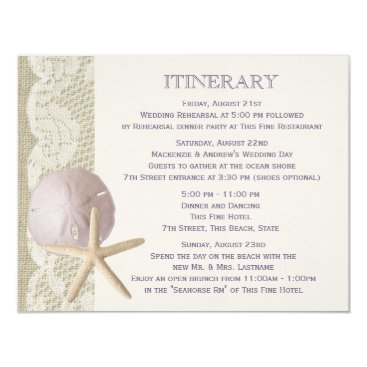 Beach Themed Vintage Beach Itinerary Purple Card