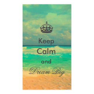"vintage beach ""Keep Calm and Dream Big"" quote Double-Sided Standard Business Cards (Pack Of 100)"