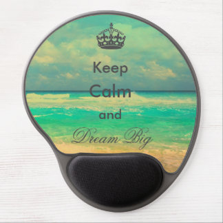"""vintage beach """"Keep Calm and Dream Big"""" quote Gel Mouse Pad"""