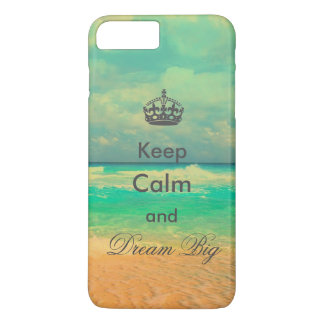 "vintage beach ""Keep Calm and Dream Big"" quote iPhone 8 Plus/7 Plus Case"