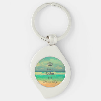 "vintage beach ""Keep Calm and Dream Big"" quote Keychain"