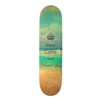 "vintage beach ""Keep Calm and Dream Big"" quote Custom Skate Board"
