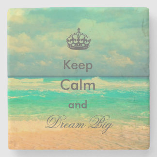 "vintage beach ""Keep Calm and Dream Big"" quote Stone Coaster"