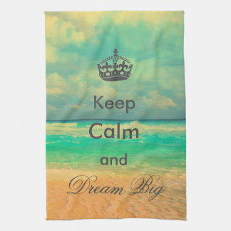 "vintage beach ""Keep Calm and Dream Big"" quote Towel"