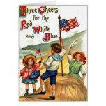 Vintage Beach Kids Flag July 4th Postcard Art