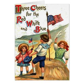 Vintage Beach Kids Flag July 4th Postcard Art Card