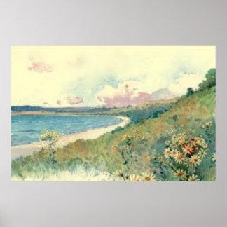 Vintage Beach Landscape Poster