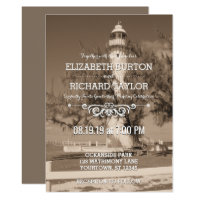 Vintage Beach Lighthouse Shore Wedding Invitation