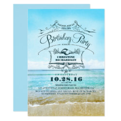 Vintage Beach Ombre Blue Sea Birthday Party Card