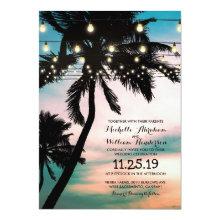 Vintage Beach Palm Tree Twinkle Lights Wedding