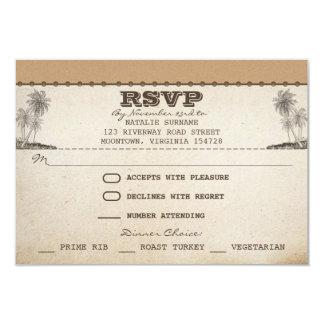 vintage beach palms unique wedding rsvp cards